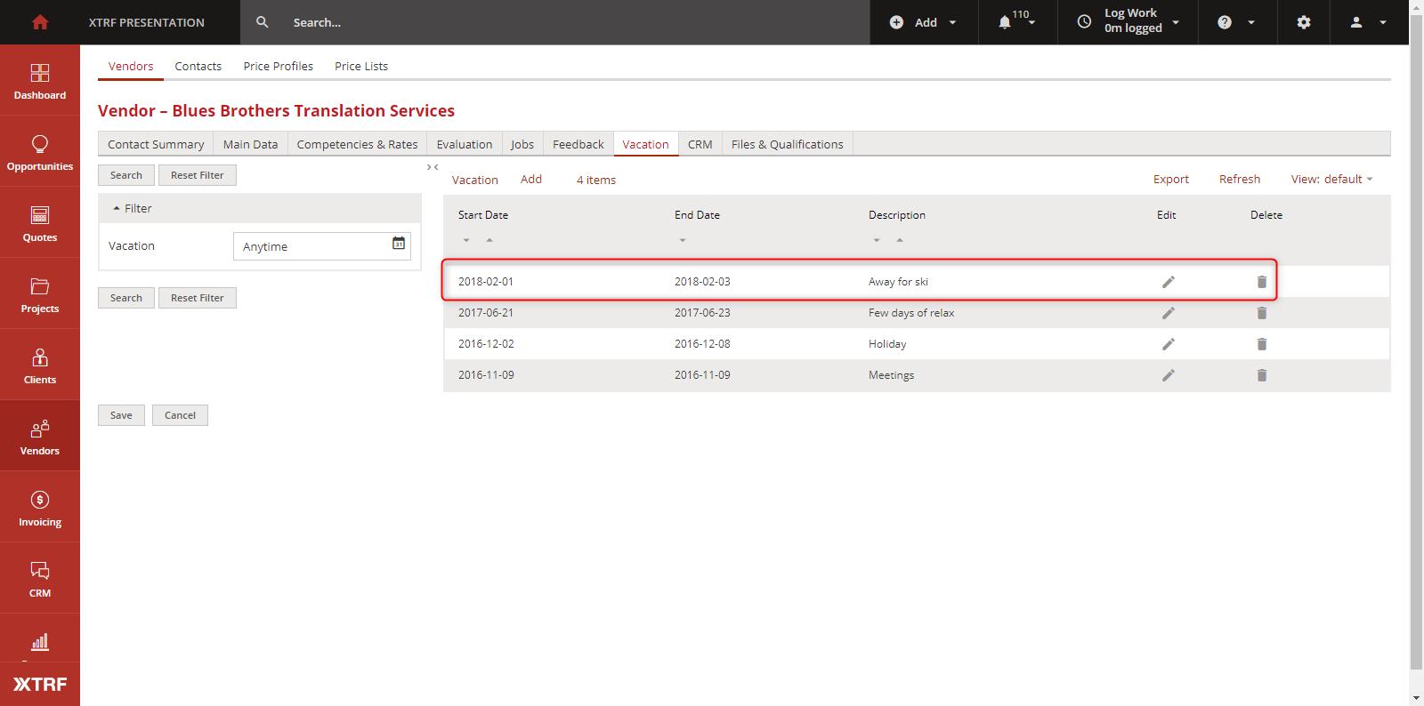 Vendor Portal: Holidays module / XTRF Knowledge Base Forum / XTRF